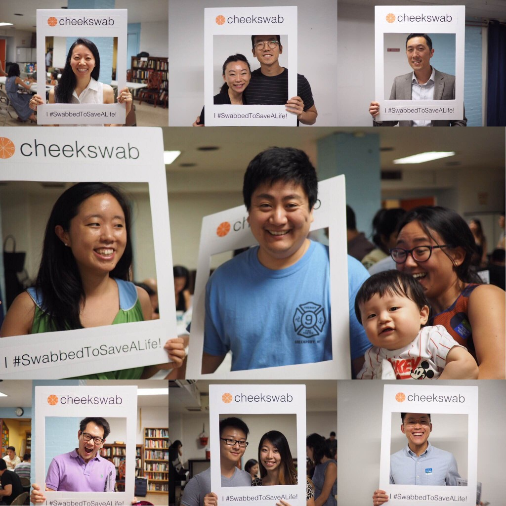 Compilation of GNC donors holding up a cheekswab sign